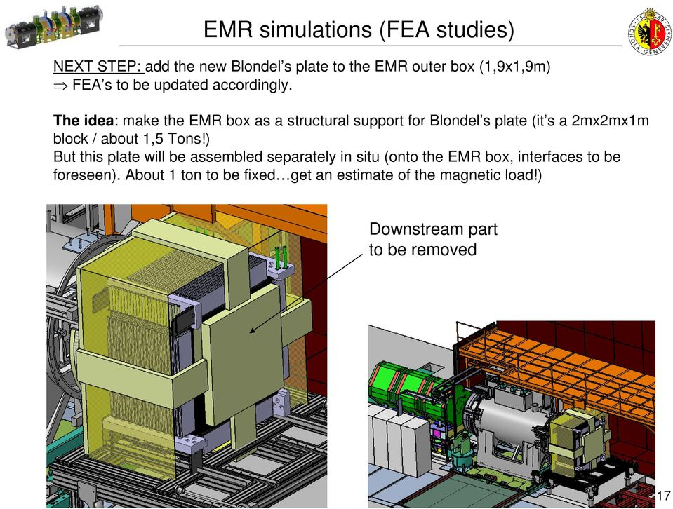 The idea: make the EMR box as a structural support for Blondel s plate (it s a 2mx2mx1m block / about 1,5 Tons!