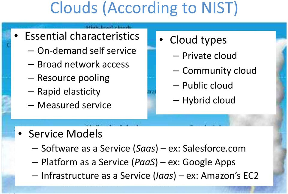 cloud Public cloud Hybrid cloud Service Models Software as a Service (Saas) ex: Salesforce.
