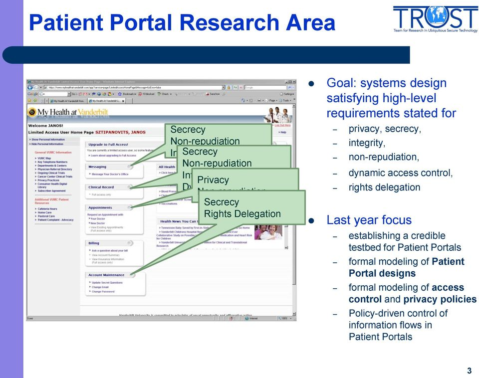 non-repudiation, dynamic access control, rights delegation Last year focus establishing a credible testbed for Patient Portals formal