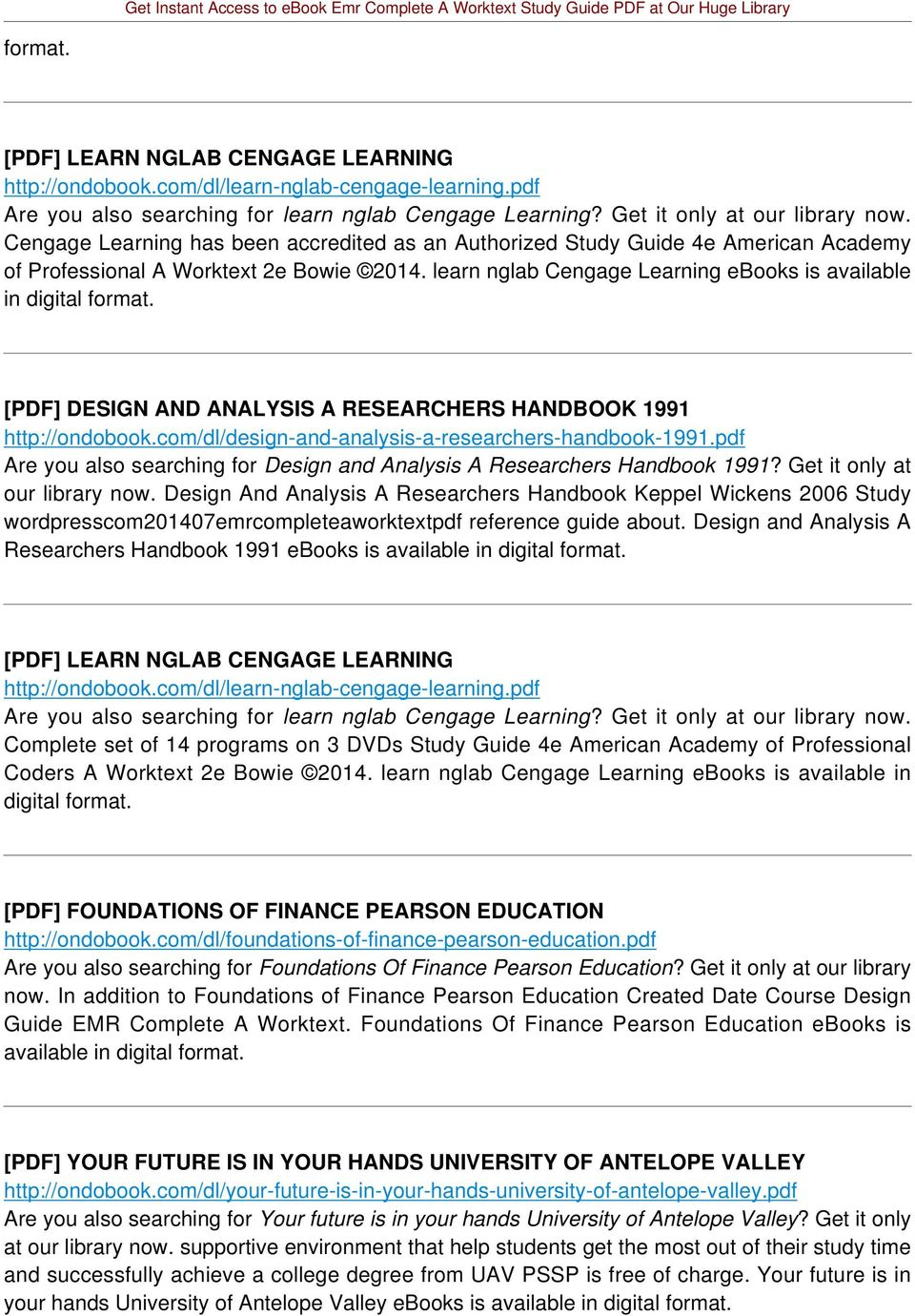 learn nglab Cengage Learning ebooks is available in [PDF] DESIGN AND ANALYSIS A RESEARCHERS HANDBOOK 1991 http://ondobook.com/dl/design-and-analysis-a-researchers-handbook-1991.