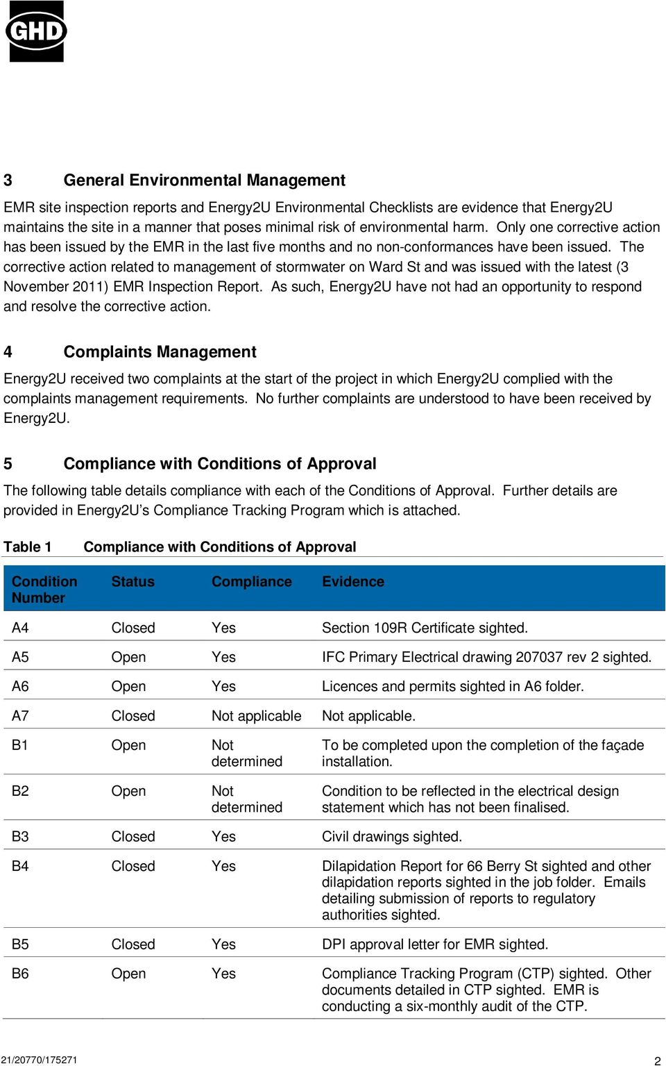 The corrective action related to management of stormwater on Ward St and was issued with the latest (3 November ) EMR Inspection Report.
