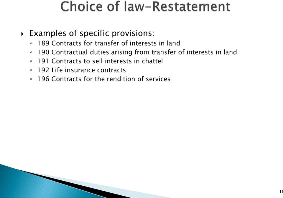 interests in land 191 Contracts to sell interests in chattel 192
