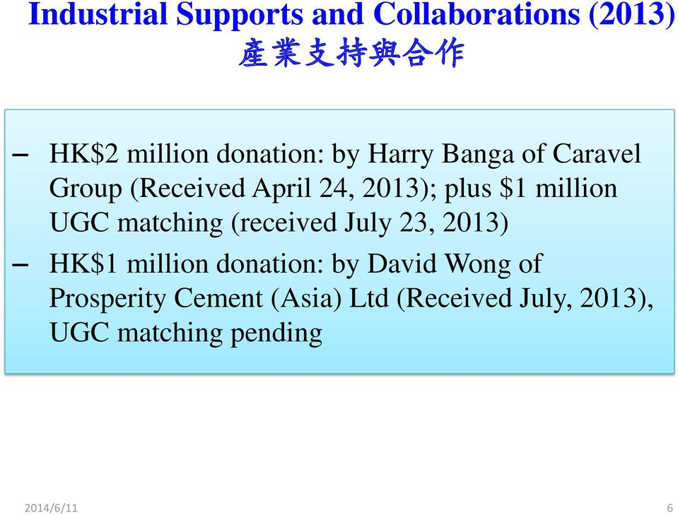 million UGC matching (received July 23, 2013) HK$1 million donation: by David