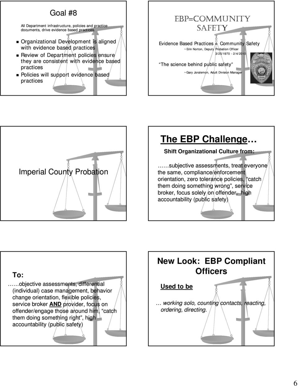 practices EBP=COMMUNITY SAFETY Evidence Based Practices = Community Safety ~Erin Norton, Deputy Probation Officer 3/25/1970-2/4/2010 The science behind public safety ~Gary Joralemon, Adult Division