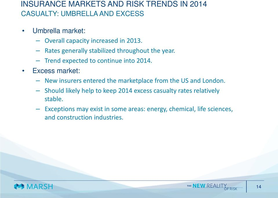 Excess market: New insurers entered the marketplace from the US and London.