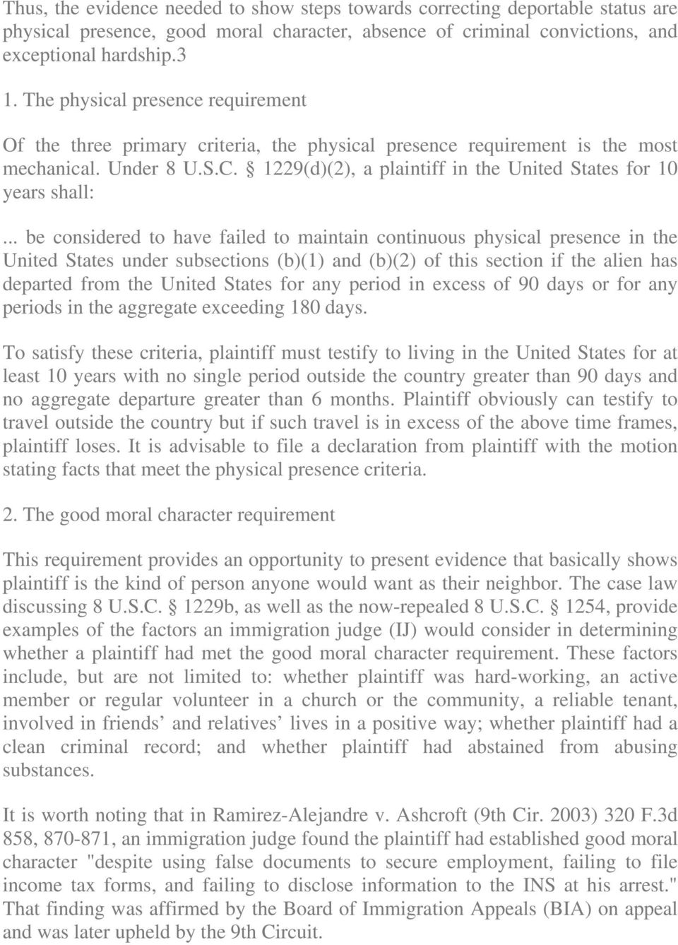1229(d)(2), a plaintiff in the United States for 10 years shall:.