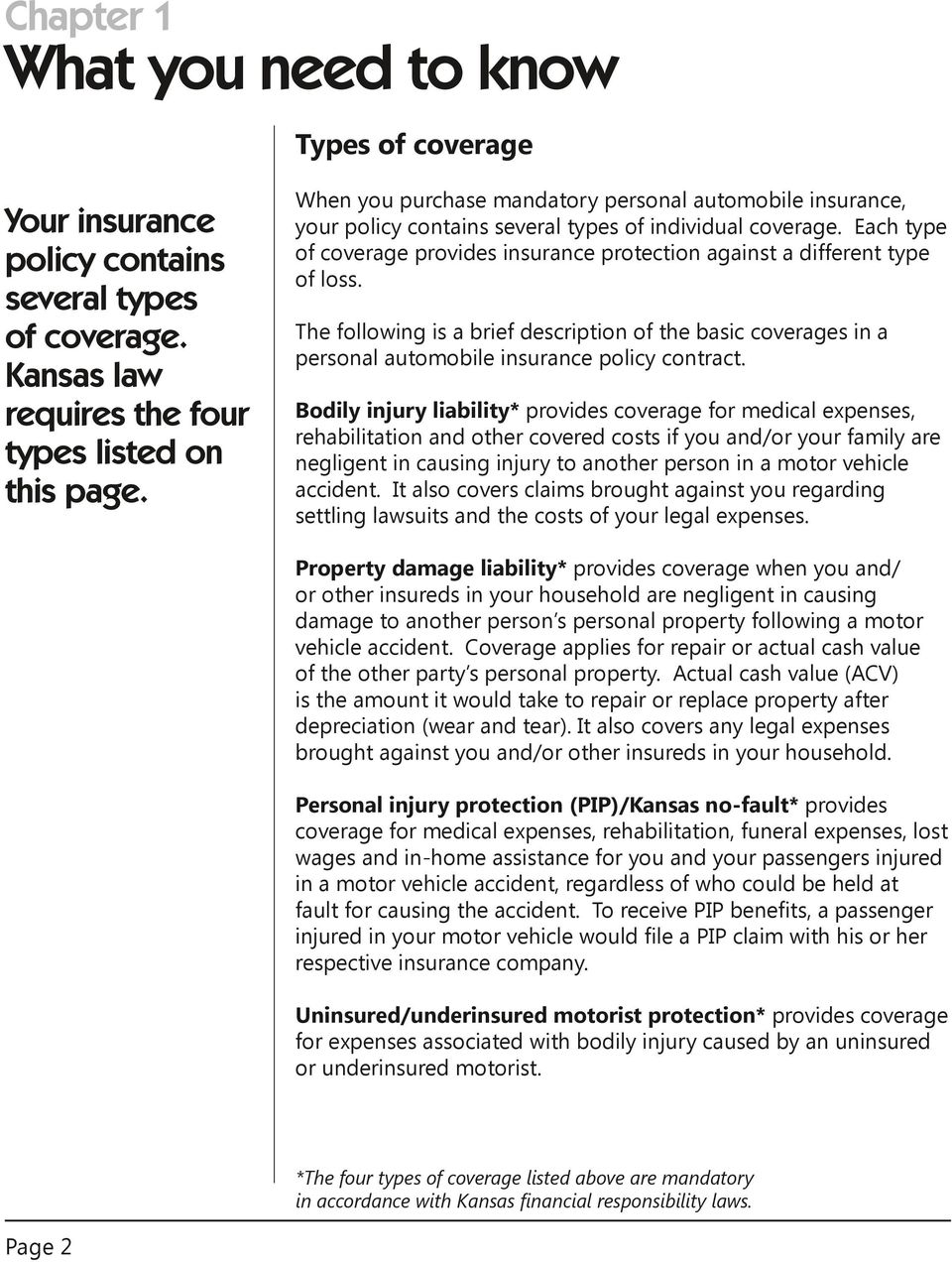 Each type of coverage provides insurance protection against a different type of loss. The following is a brief description of the basic coverages in a personal automobile insurance policy contract.