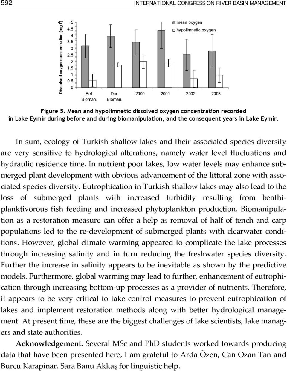 In sum, ecology of Turkish shallow lakes and their associated species diversity are very sensitive to hydrological alterations, namely water level fluctuations and hydraulic residence time.