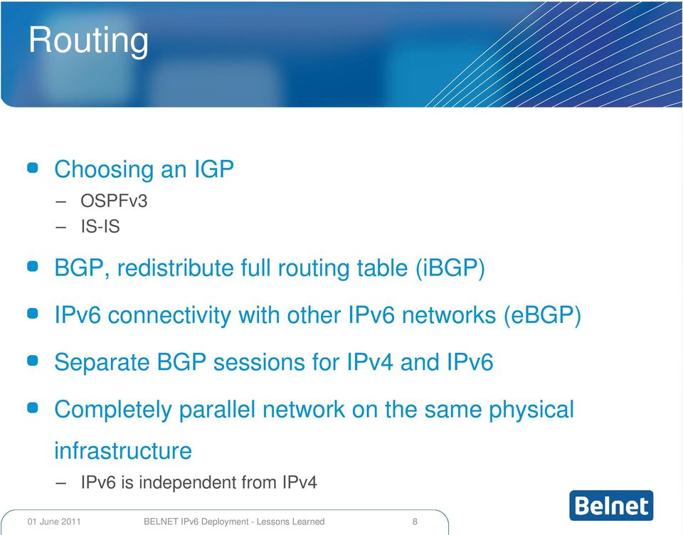 (ebgp) Separate BGP sessions for IPv4 and IPv6 Completely parallel
