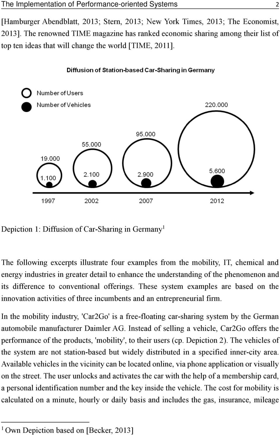 Depiction 1: Diffusion of Car-Sharing in Germany 1 The following excerpts illustrate four examples from the mobility, IT, chemical and energy industries in greater detail to enhance the understanding