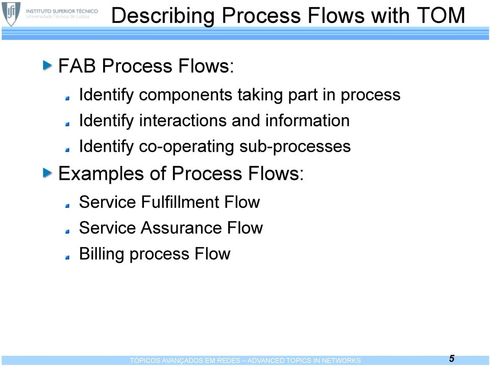 sub-processes Examples of Process Flows: Service Fulfillment Flow Service