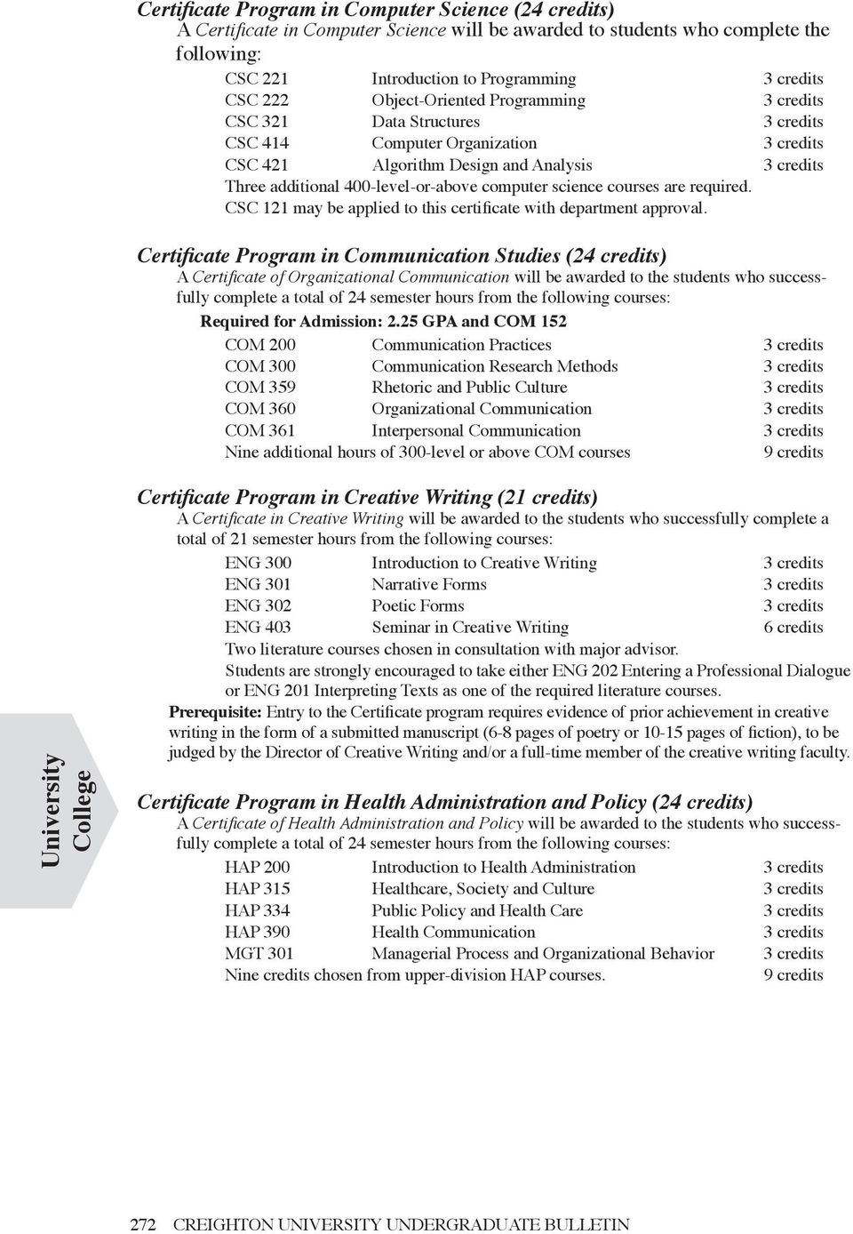 computer science courses are required. CSC 121 may be applied to this certificate with department approval.