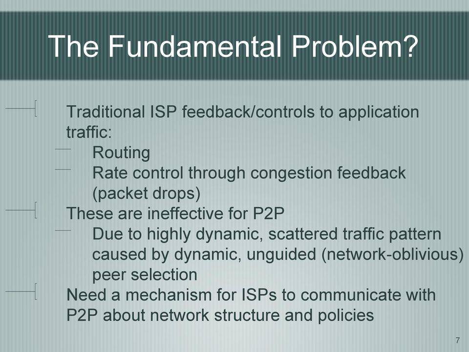 congestion feedback (packet drops) These are ineffective for P2P Due to highly dynamic,