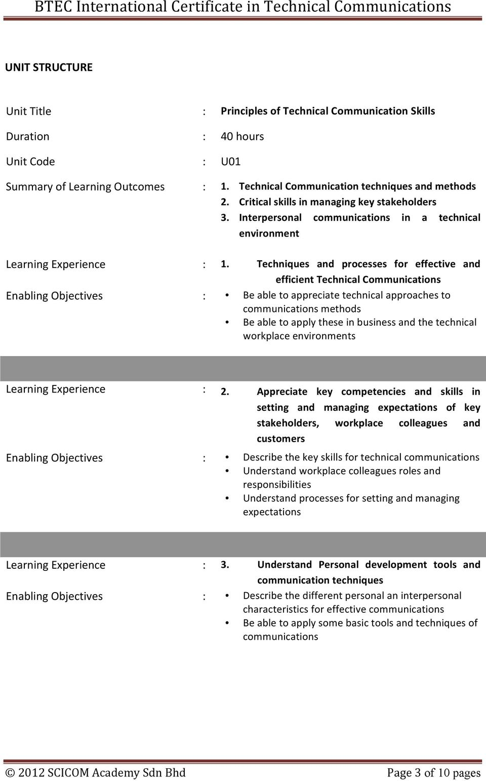 Techniques and processes for effective and efficient Technical Communications Enabling Objectives : Be able to appreciate technical approaches to communications methods Be able to apply these in
