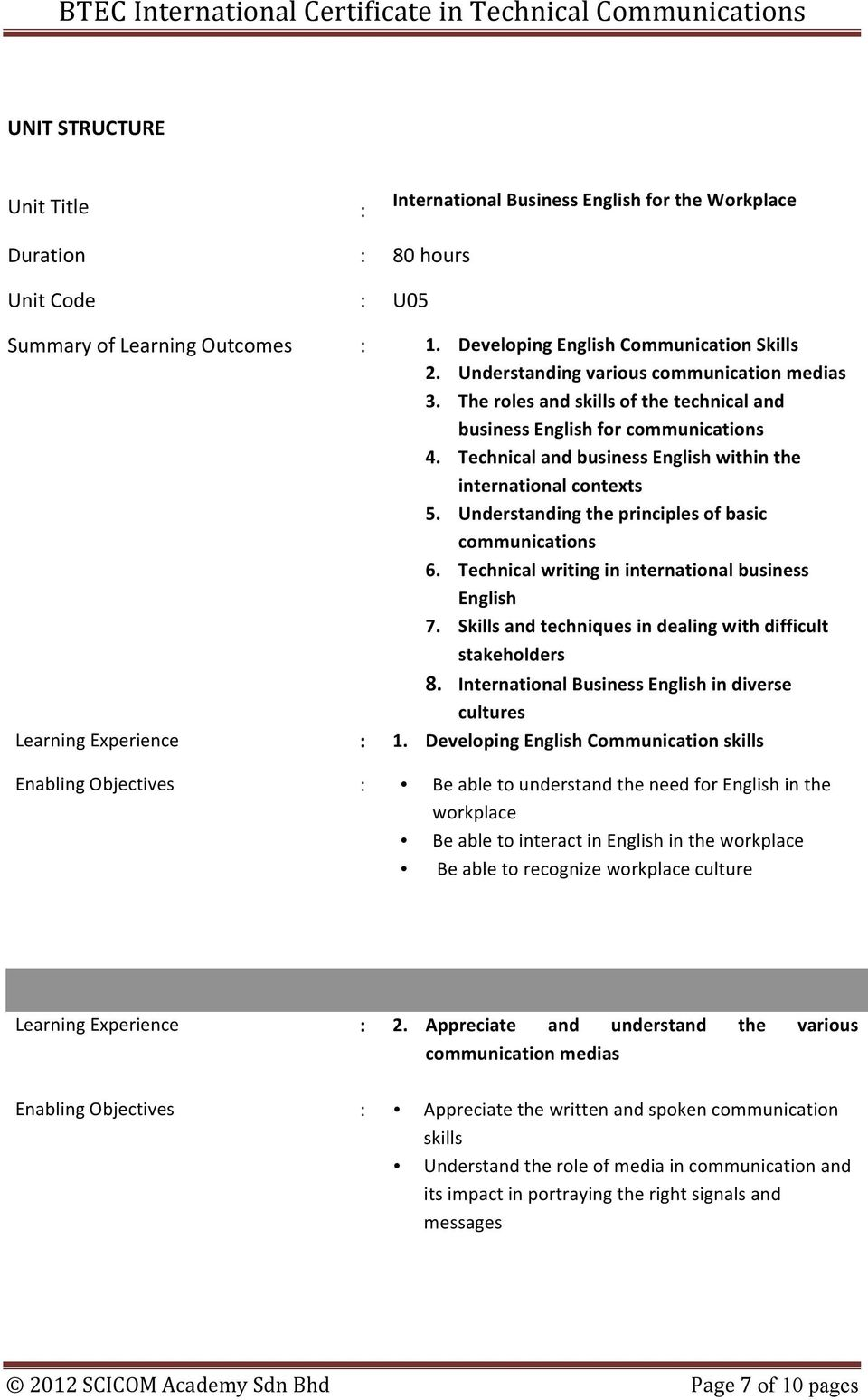 Understanding the principles of basic communications 6. Technical writing in international business English 7. Skills and techniques in dealing with difficult stakeholders 8.