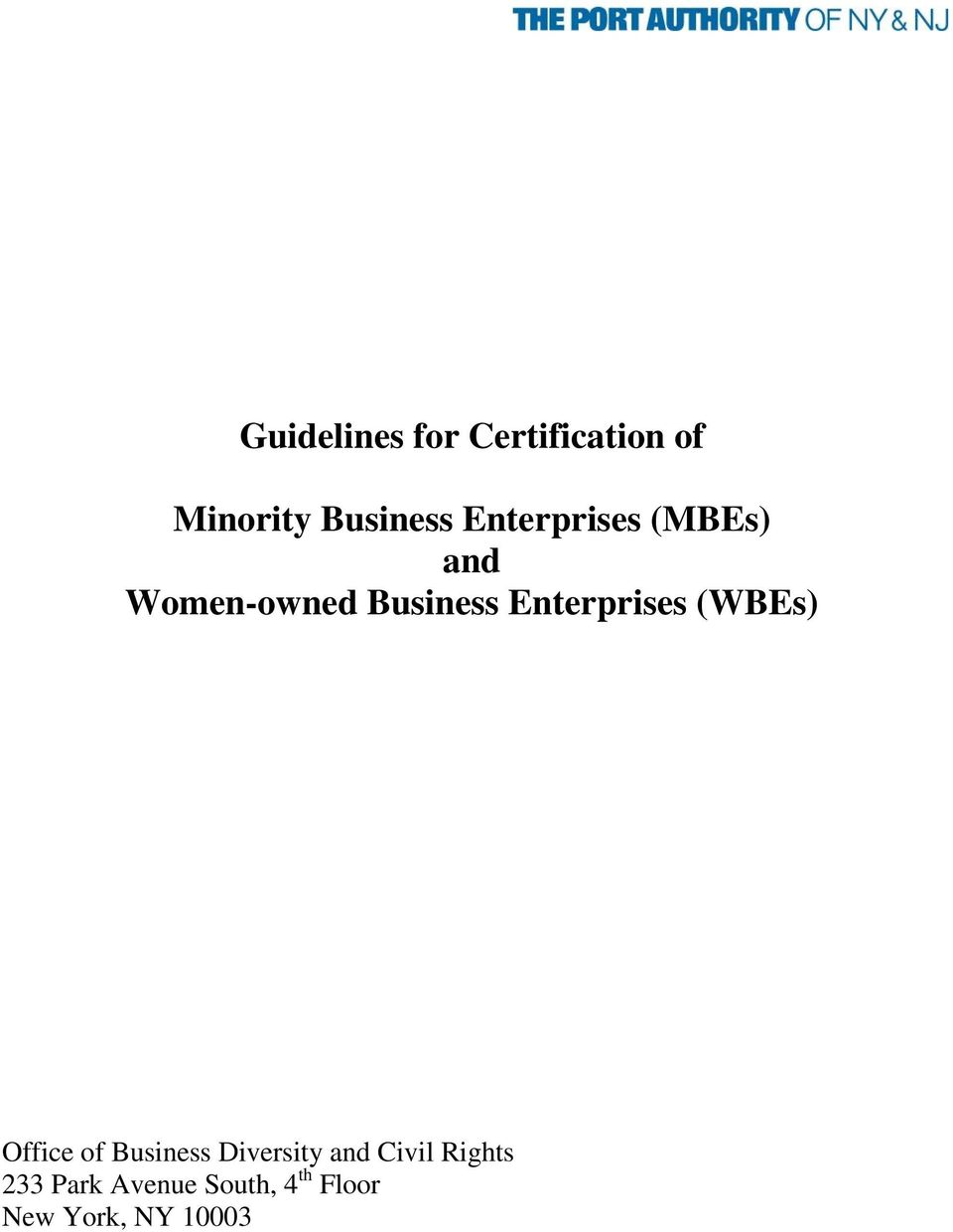 Enterprises (WBEs) Office of Business Diversity and
