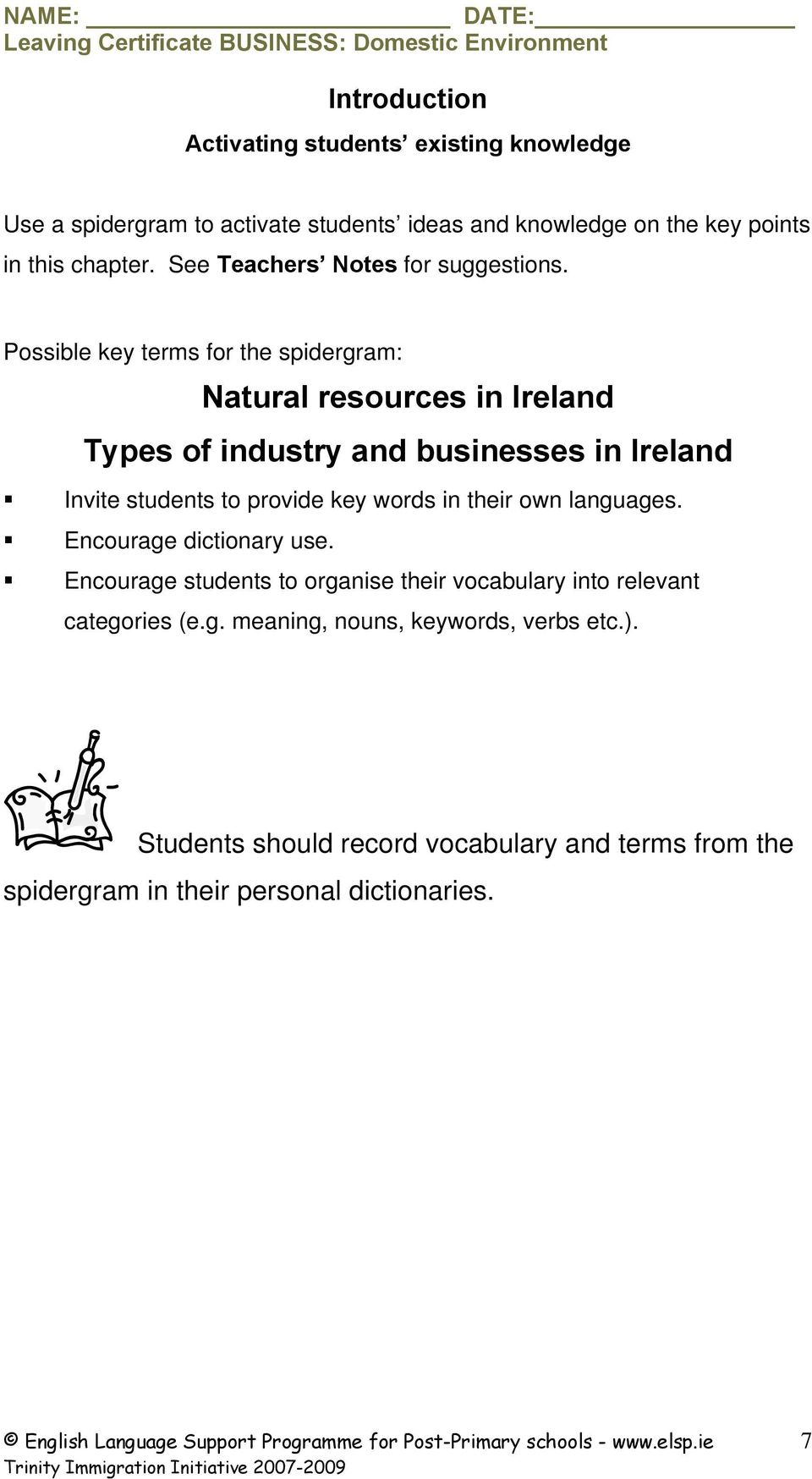 Possible key terms for the spidergram: Natural resources in Ireland Types of industry and businesses in Ireland Invite students to provide key words in their own