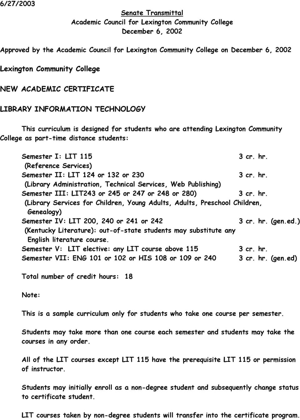 (Reference Services) Semester II: LIT 124 or 132 or 230 (Library Administration, Technical Services, Web Publishing) Semester III: LIT243 or 245 or 247 or 248 or 280) (Library Services for Children,