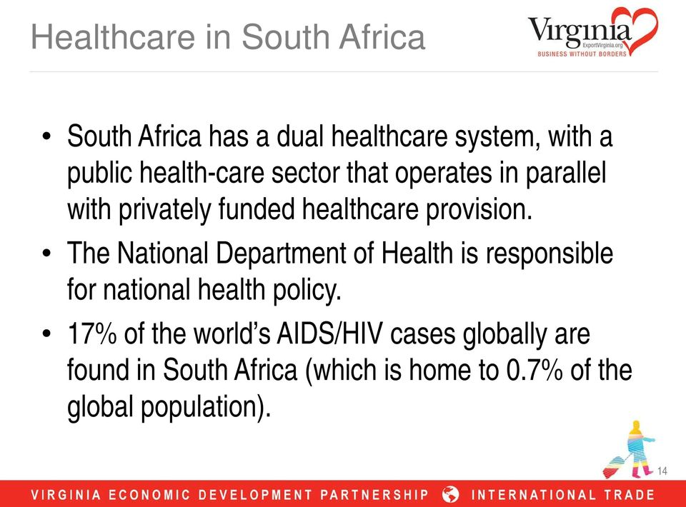 The National Department of Health is responsible for national health policy.