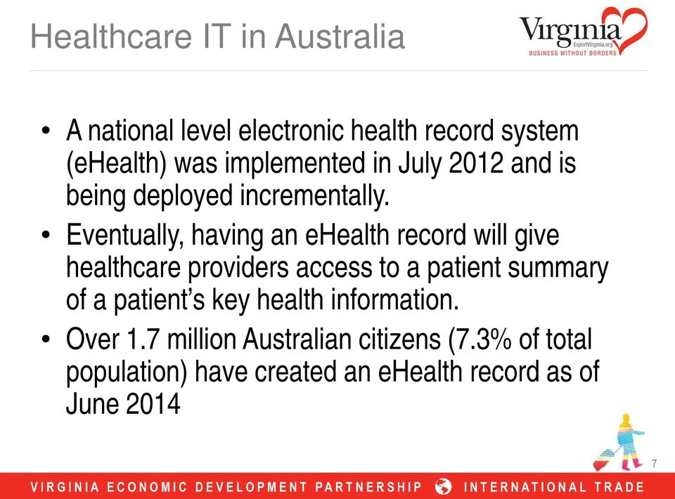 Eventually, having an ehealth record will give healthcare providers access to a patient summary of