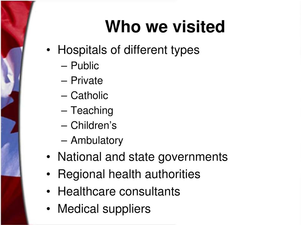 Ambulatory National and state governments