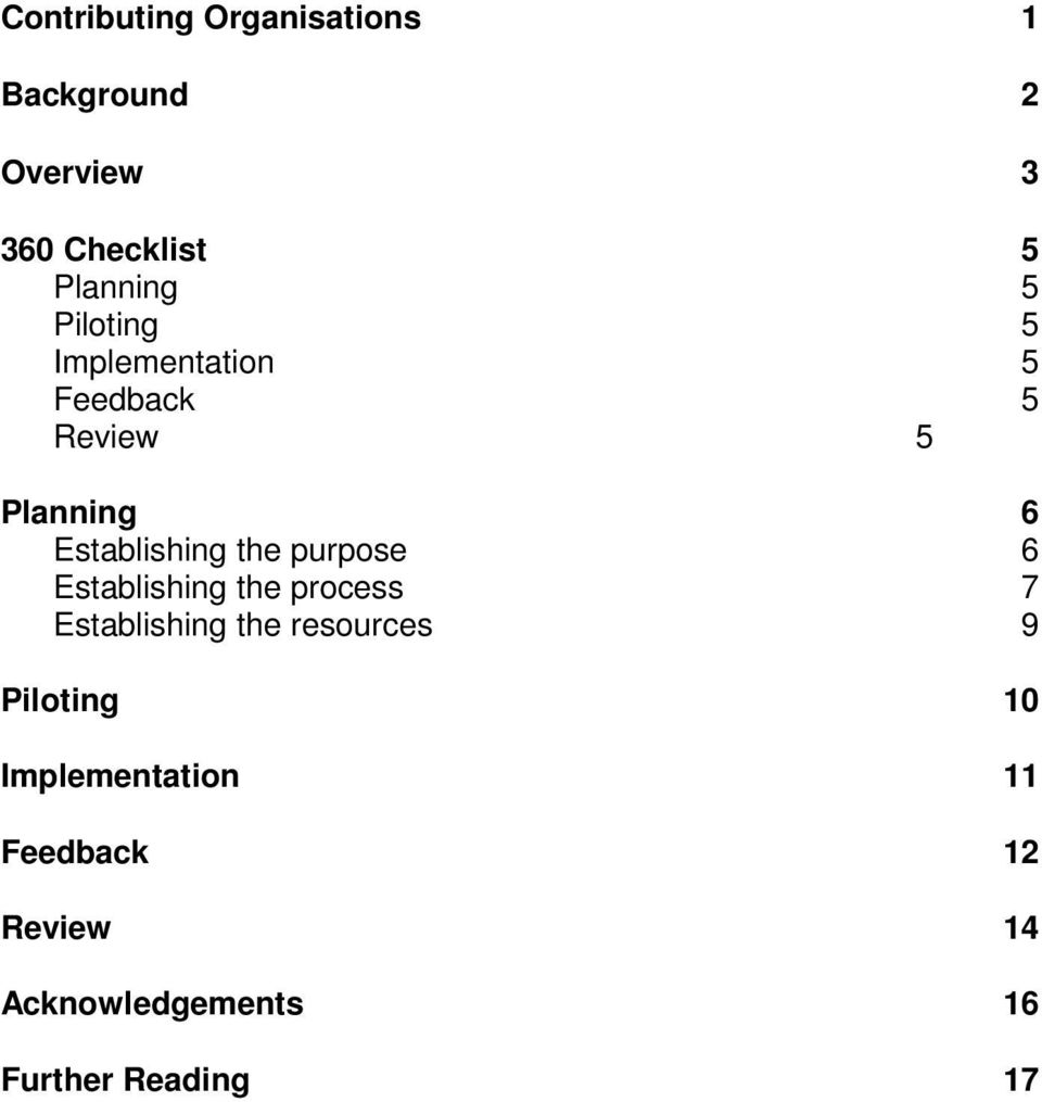 purpose 6 Establishing the process 7 Establishing the resources 9 Piloting 10