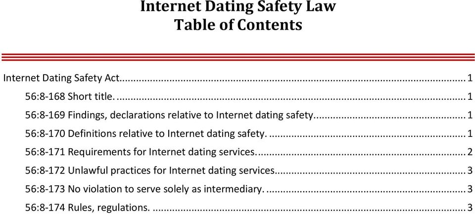 ... 1 56:8-170 Definitions relative to Internet dating safety.