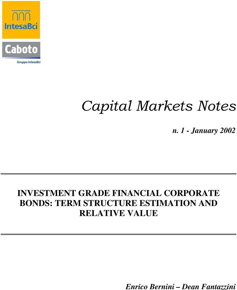 FINANCIAL CORPORATE BONDS: TERM