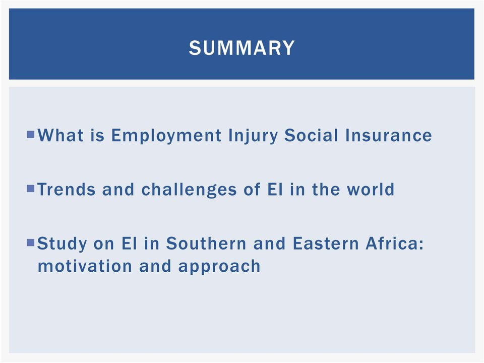 of EI in the world Study on EI in