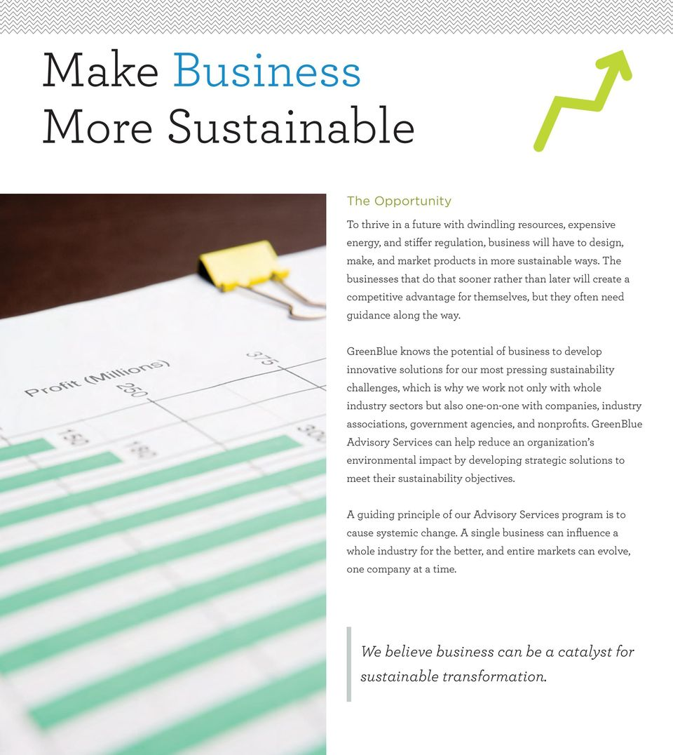 GreenBlue knows the potential of business to develop innovative solutions for our most pressing sustainability challenges, which is why we work not only with whole industry sectors but also