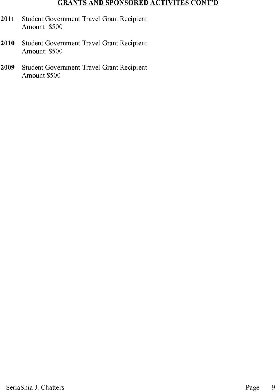 Travel Grant Recipient Amount: $500 2009 Student Government