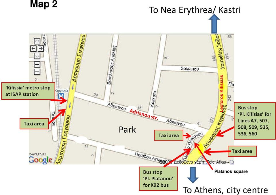 Kifisias for Lines A7, 507, 508, 509, 535, 536, 560 Taxi area