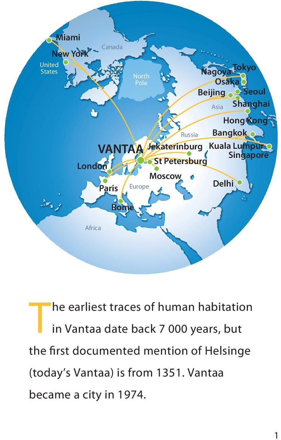 Moscow Europe Delhi Africa The earliest traces of human habitation in Vantaa date back 7 000 years,