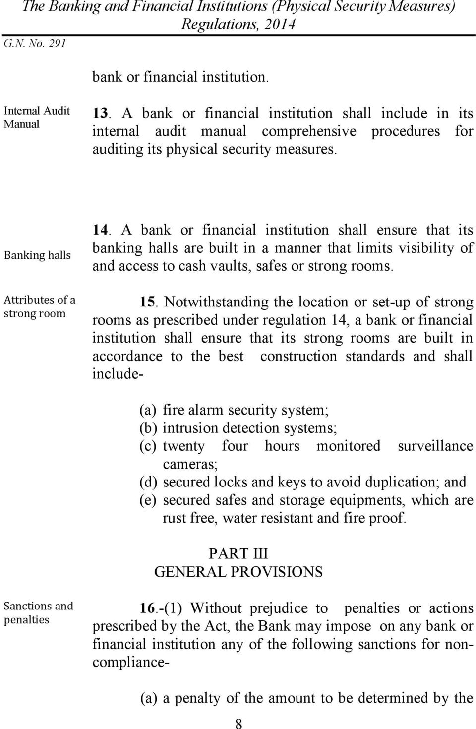 A bank or financial institution shall ensure that its banking halls are built in a manner that limits visibility of and access to cash vaults, safes or strong rooms. 15.