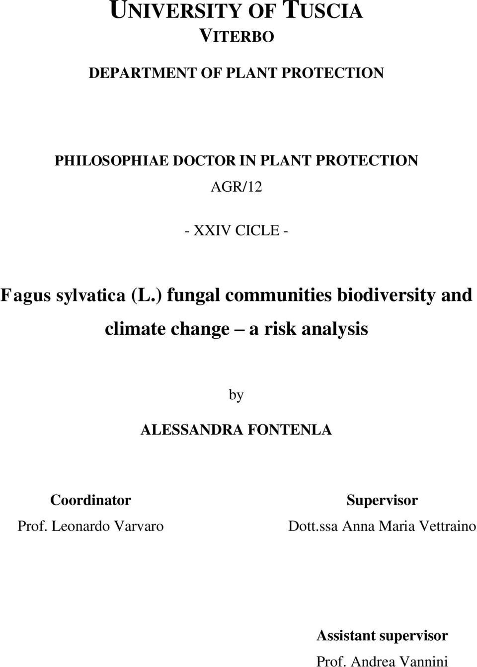 ) fungal communities biodiversity and climate change a risk analysis by ALESSANDRA