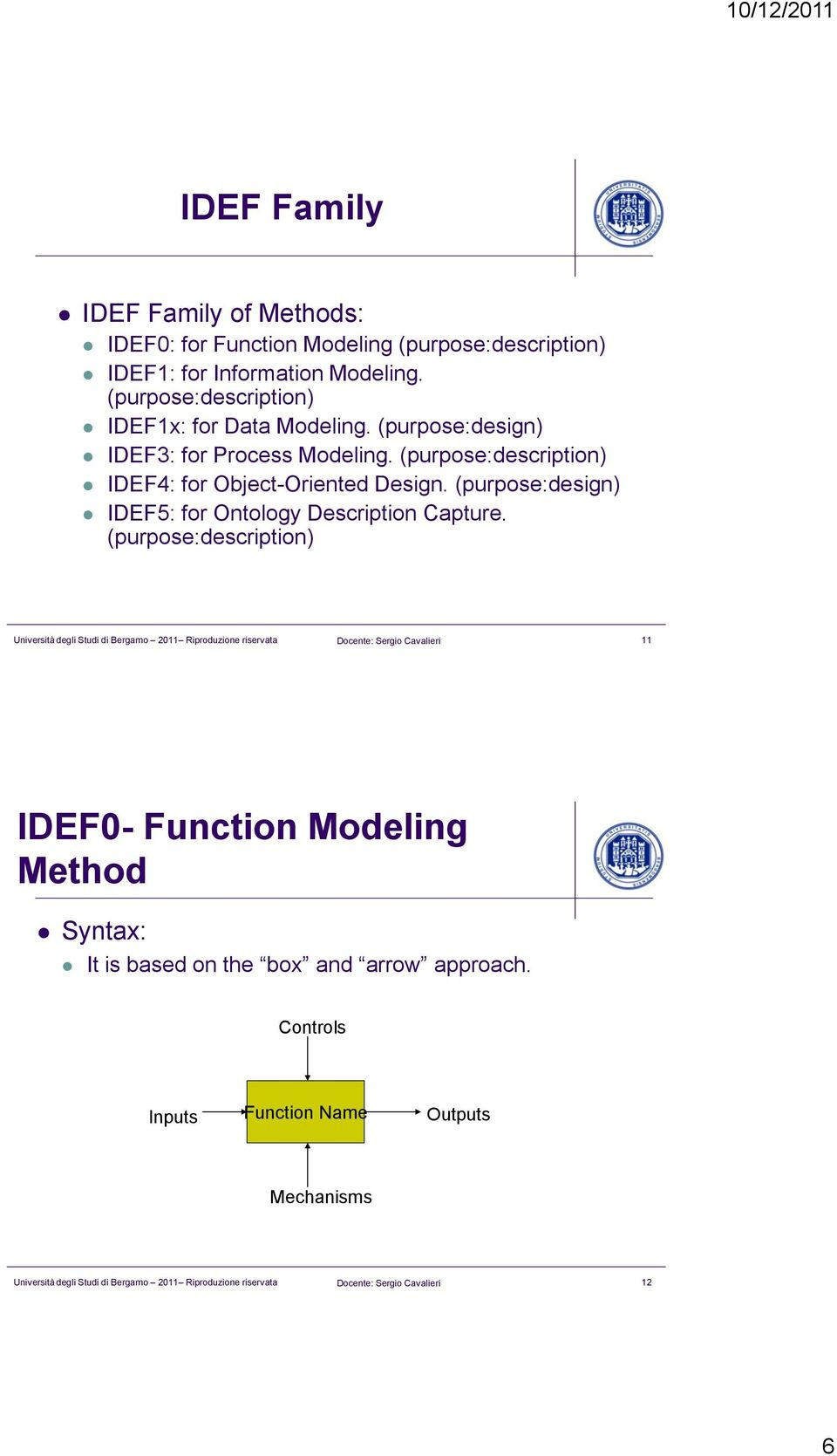 (purpose:description) IDEF4: for Object-Oriented Design. (purpose:design) IDEF5: for Ontology Description Capture.