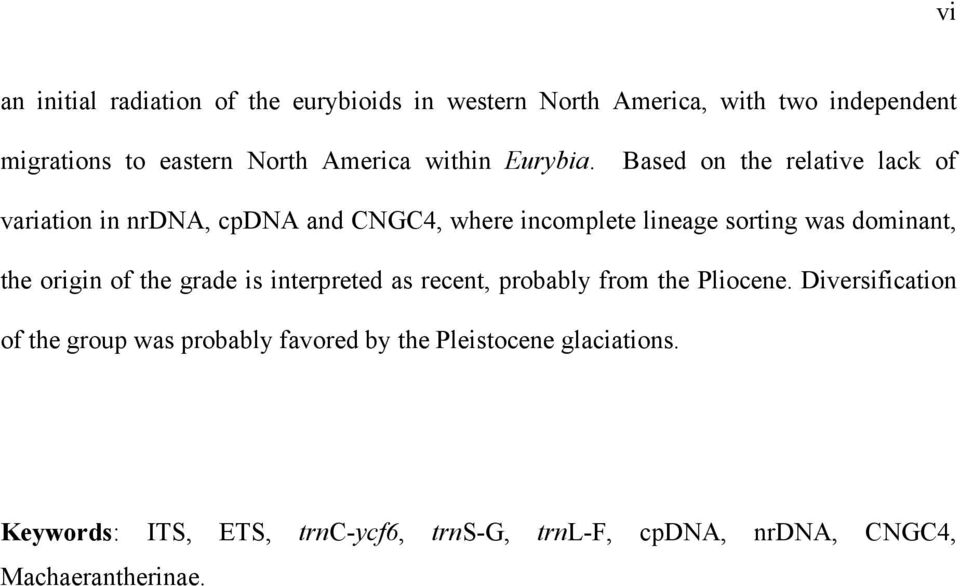 Based on the relative lack of variation in nrdna, cpdna and CNGC4, where incomplete lineage sorting was dominant, the origin