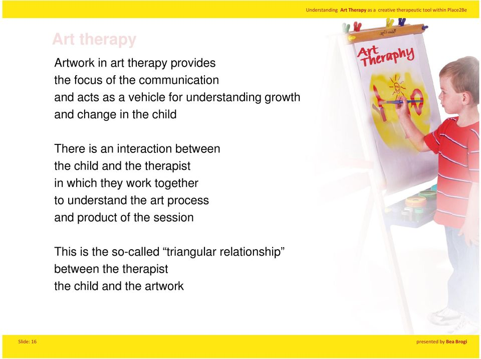 therapist in which they work together to understand the art process and product of the session