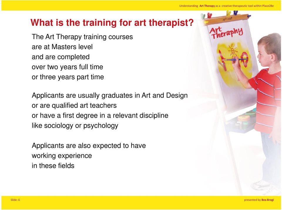 three years part time Applicants are usually graduates in Art and Design or are qualified art