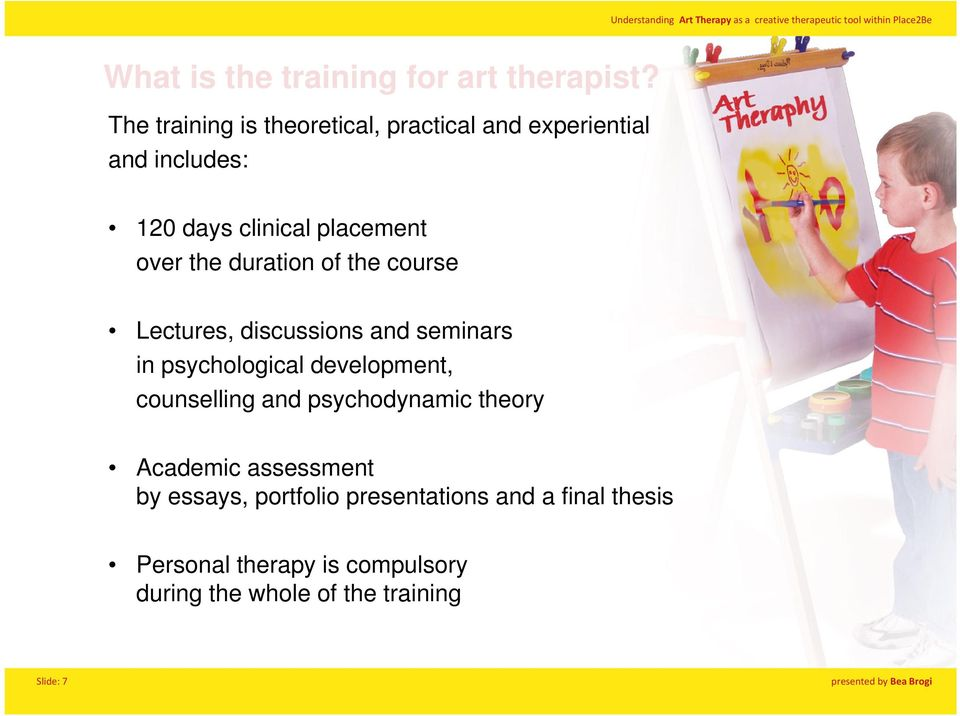 the duration of the course Lectures, discussions and seminars in psychological development, counselling