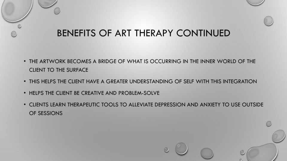 UNDERSTANDING OF SELF WITH THIS INTEGRATION HELPS THE CLIENT BE CREATIVE AND