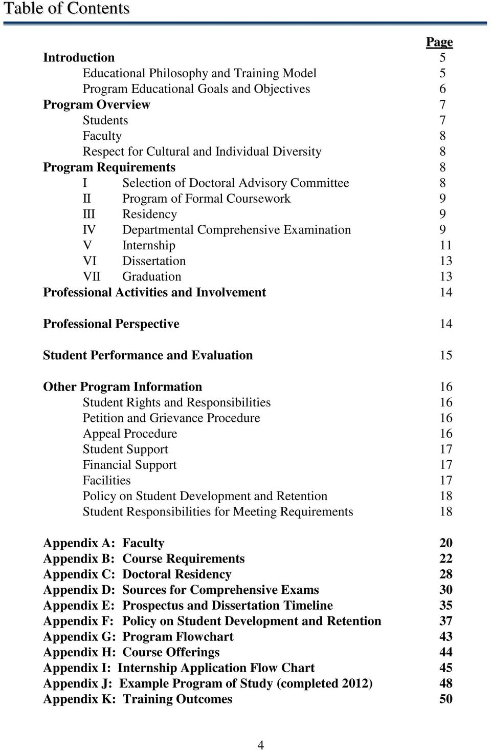 11 VI Dissertation 13 VII Graduation 13 Professional Activities and Involvement 14 Professional Perspective 14 Student Performance and Evaluation 15 Other Program Information 16 Student Rights and