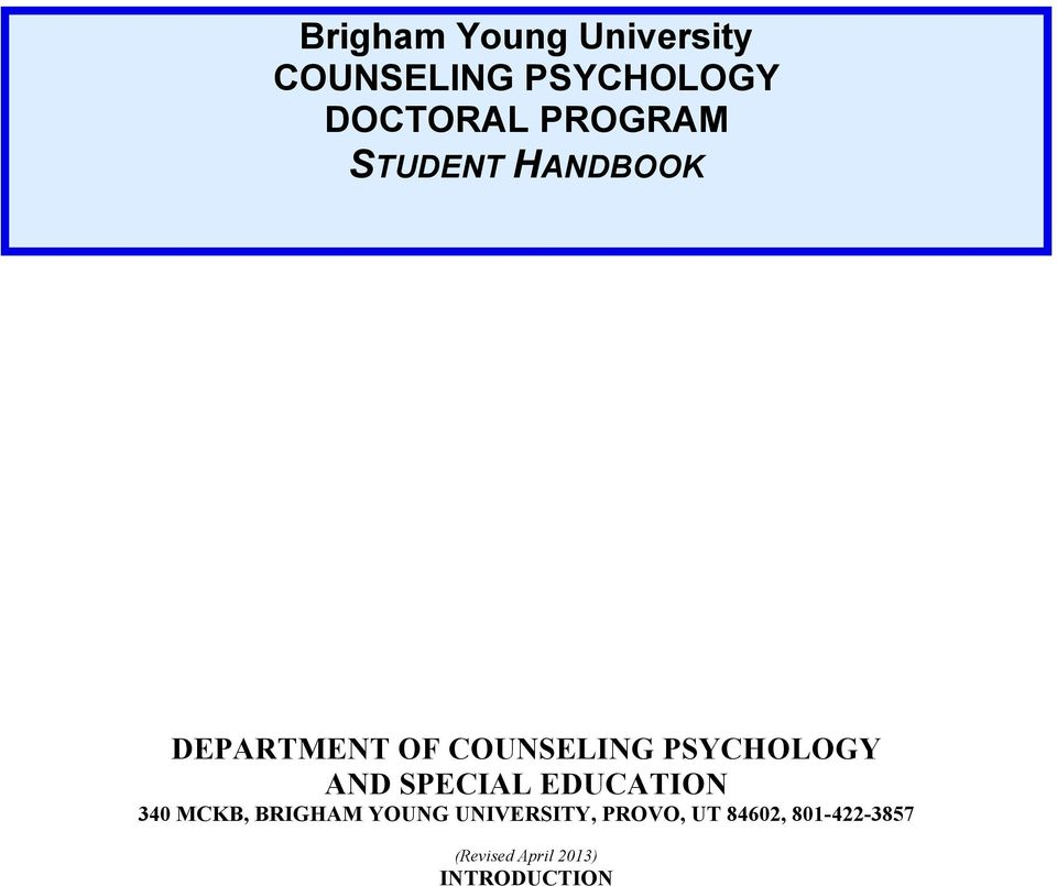 PSYCHOLOGY AND SPECIAL EDUCATION 340 MCKB, BRIGHAM YOUNG
