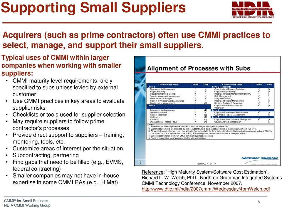 key areas to evaluate supplier risks Checklists or tools used for supplier selection May require suppliers to follow prime contractor s processes Provide direct support to suppliers training,