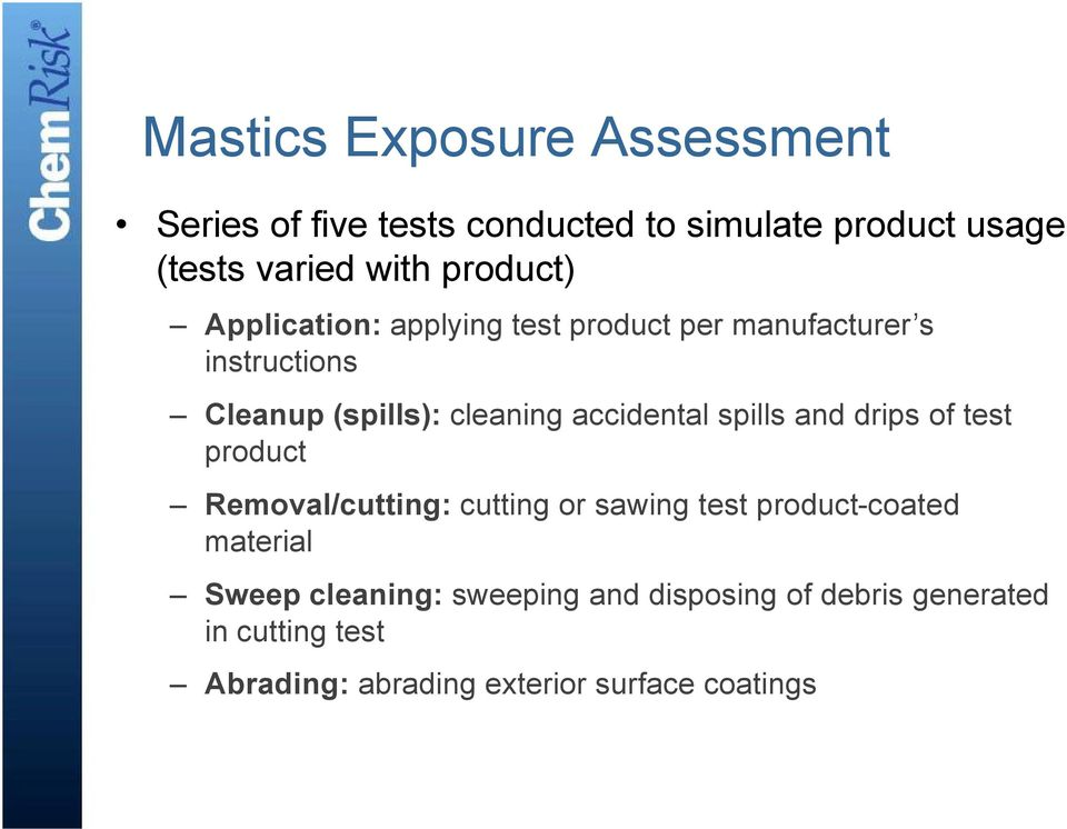 accidental spills and drips of test product Removal/cutting: cutting or sawing test product-coated material