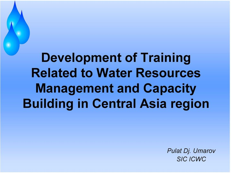and Capacity Building in Central