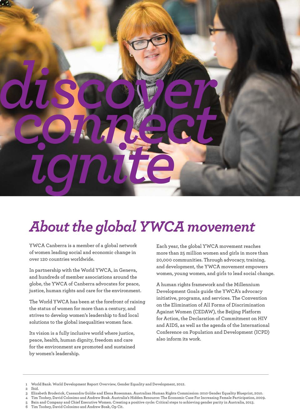 The World YWCA has been at the forefront of raising the status of women for more than a century, and strives to develop women s leadership to find local solutions to the global inequalities women