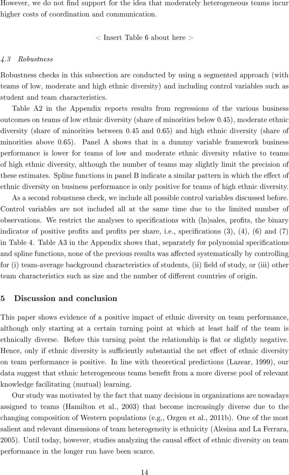 and team characteristics. Table A2 in the Appendix reports results from regressions of the various business outcomes on teams of low ethnic diversity (share of minorities below 0.