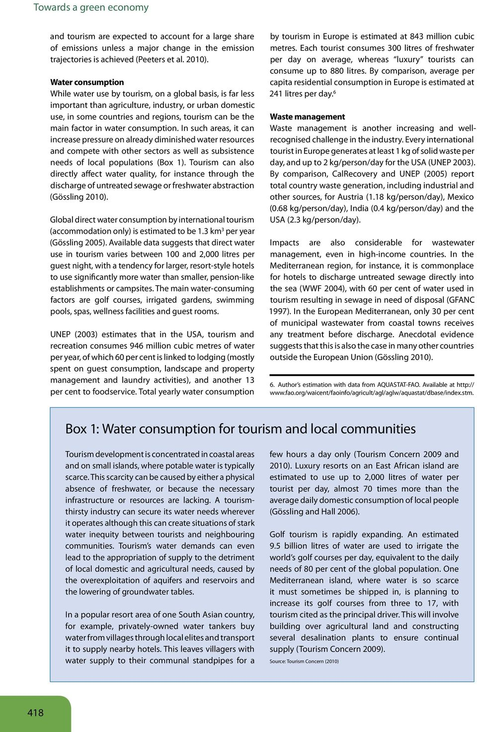 in water consumption. In such areas, it can increase pressure on already diminished water resources and compete with other sectors as well as subsistence needs of local populations (Box 1).
