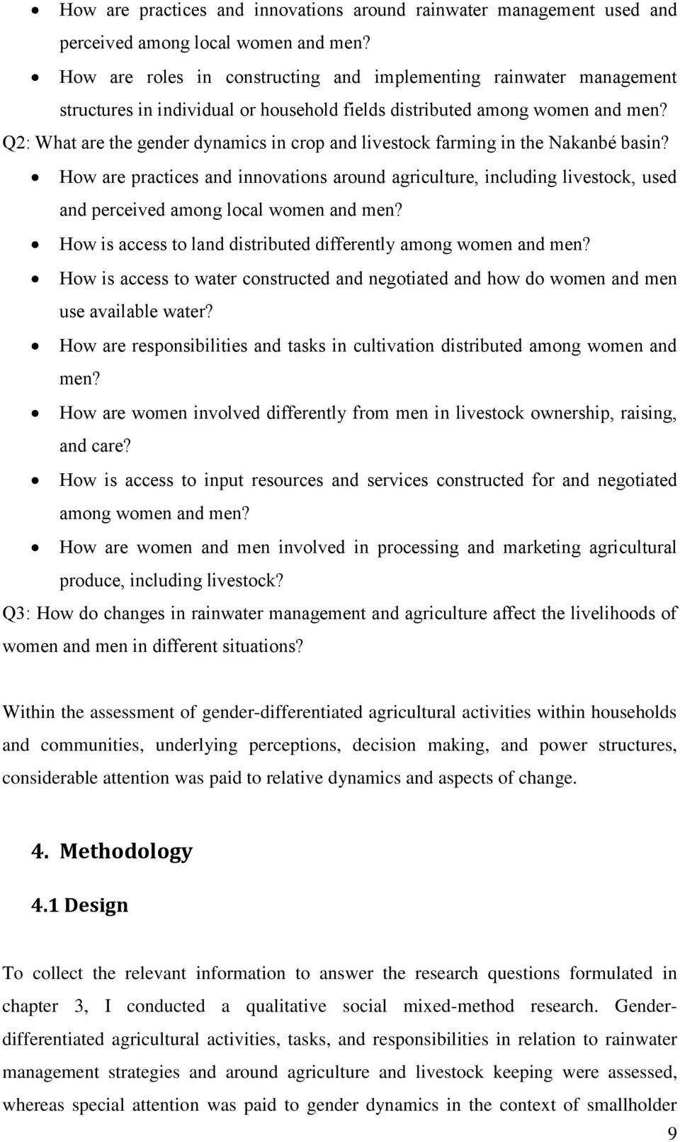 Q2: What are the gender dynamics in crop and livestock farming in the Nakanbé basin?